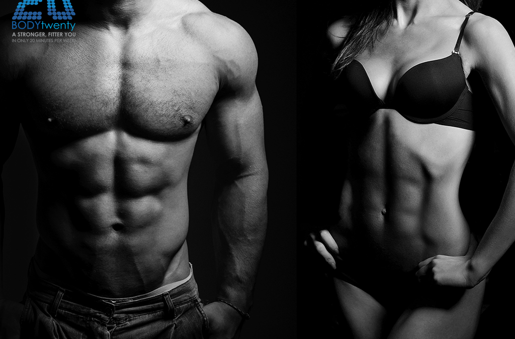 Muscular man and muscular woman