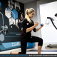 Blonde woman exercising in studio